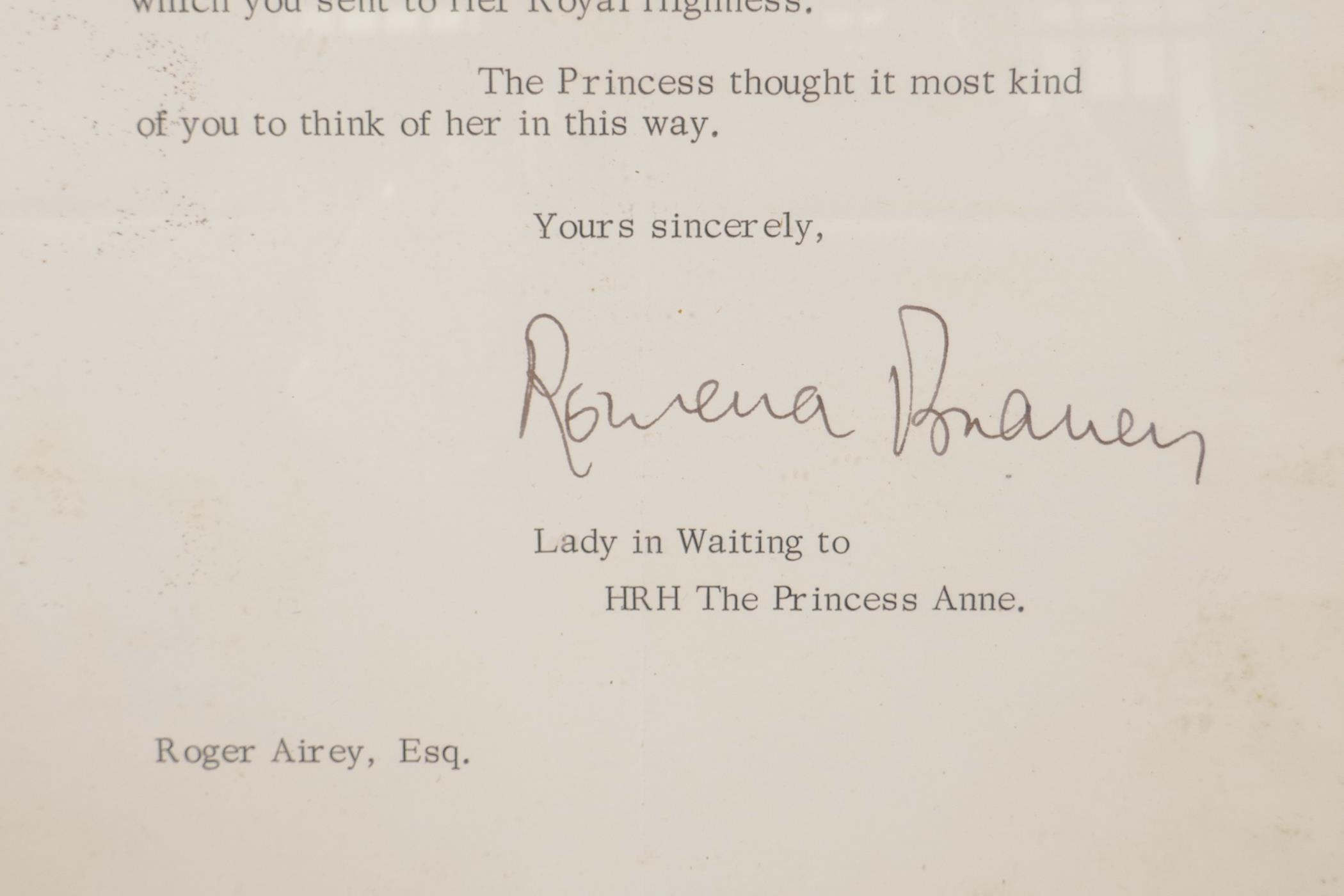 Lot 54 - Royal memorabilia: A letter from Buckingham Palace dated 12th June 1973, written to Mr. Roger