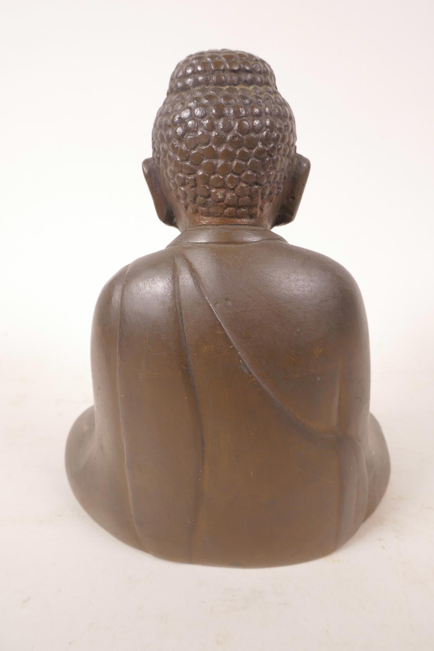 """Lot 51 - A well cast bronze Buddha, 6½"""" high"""