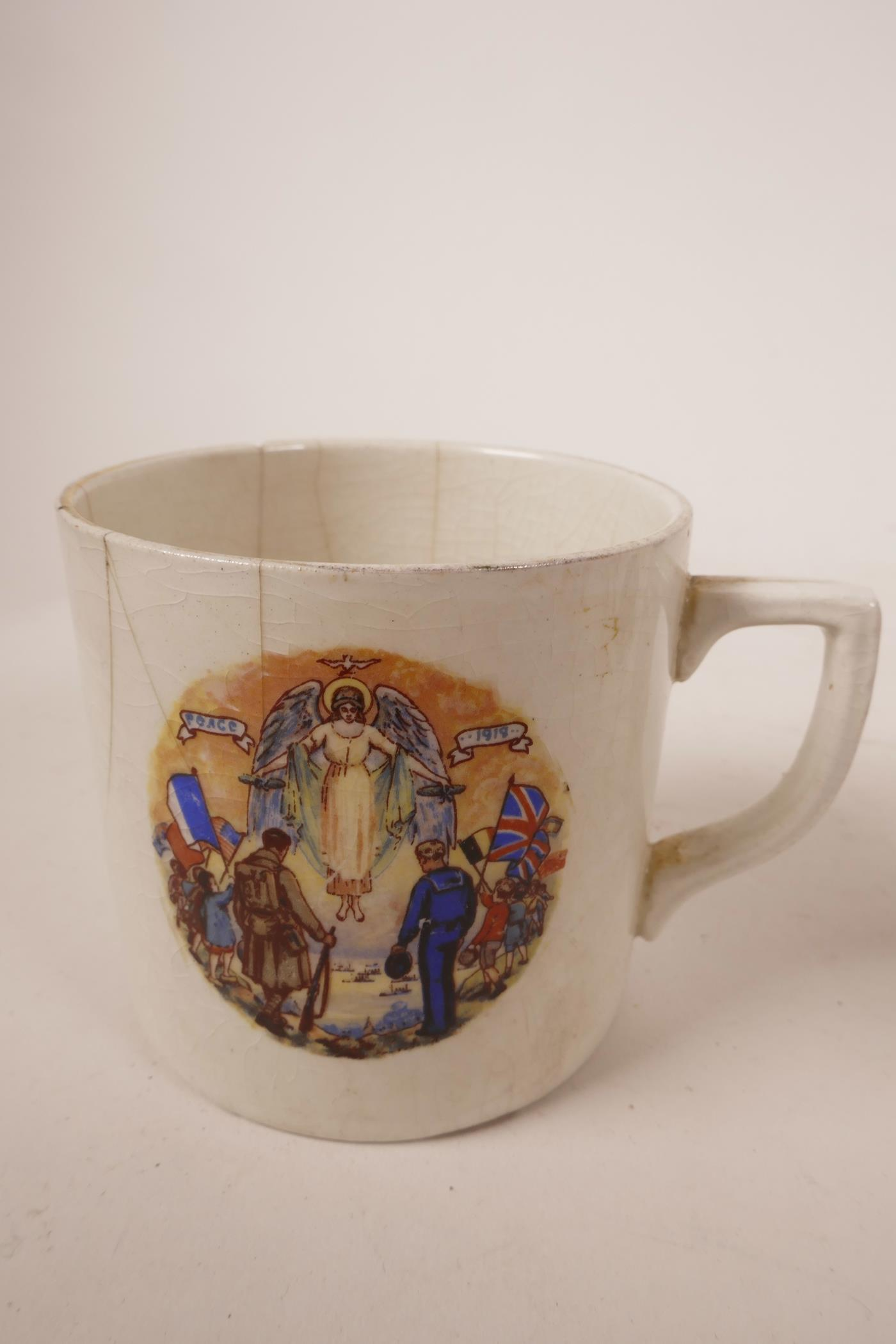 Lot 19 - A variety of porcelain items including crested ware, a Wedgwood Jasperware pot and an unusual WW1