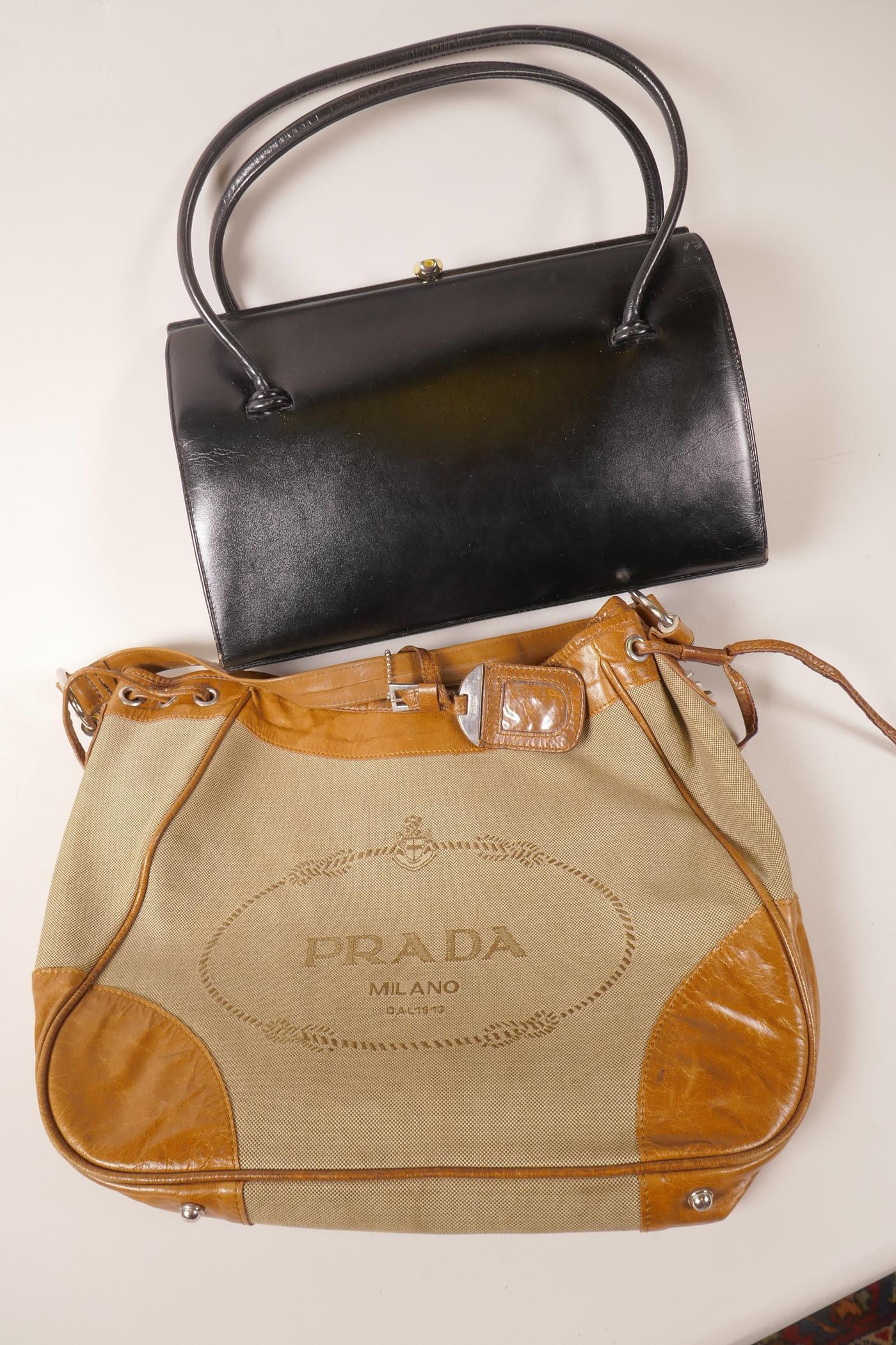 Lot 42 - A designer leather and fabric handbag, together with a vintage 'Waldybag' black leather handbag