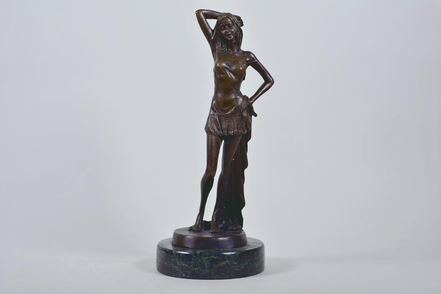 """Lot 9 - A bronze figure of a girl standing in an artistic pose, marked Nöll, on a round marble stand, 12"""""""