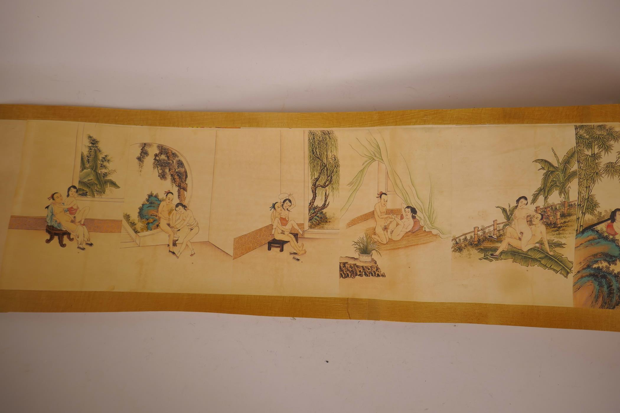 """Lot 13 - A Chinese printed scroll depicting erotic scenes, 81"""" x 8"""""""