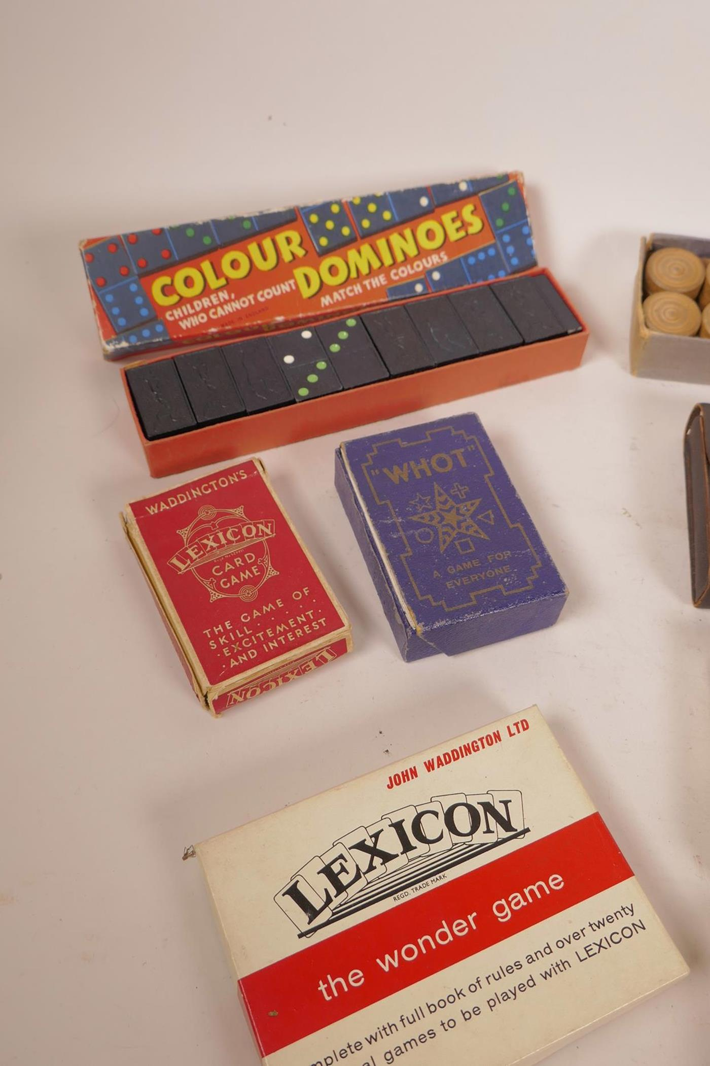 Lot 6 - A box of vintage games and playing cards including carpet croquet, dominoes etc