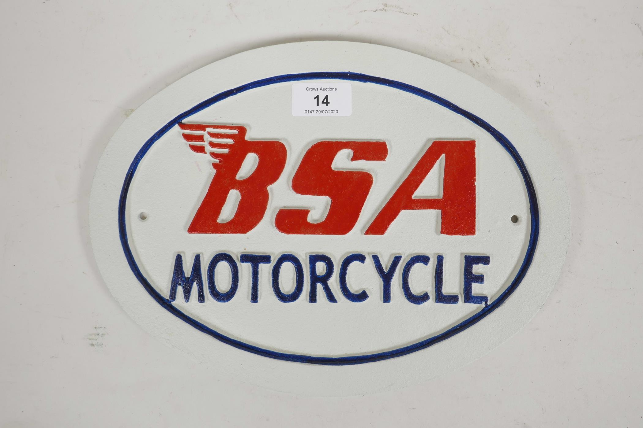 "Lot 14 - A painted cast iron plaque advertising BSA Motorcycles, 12"" x 9"""