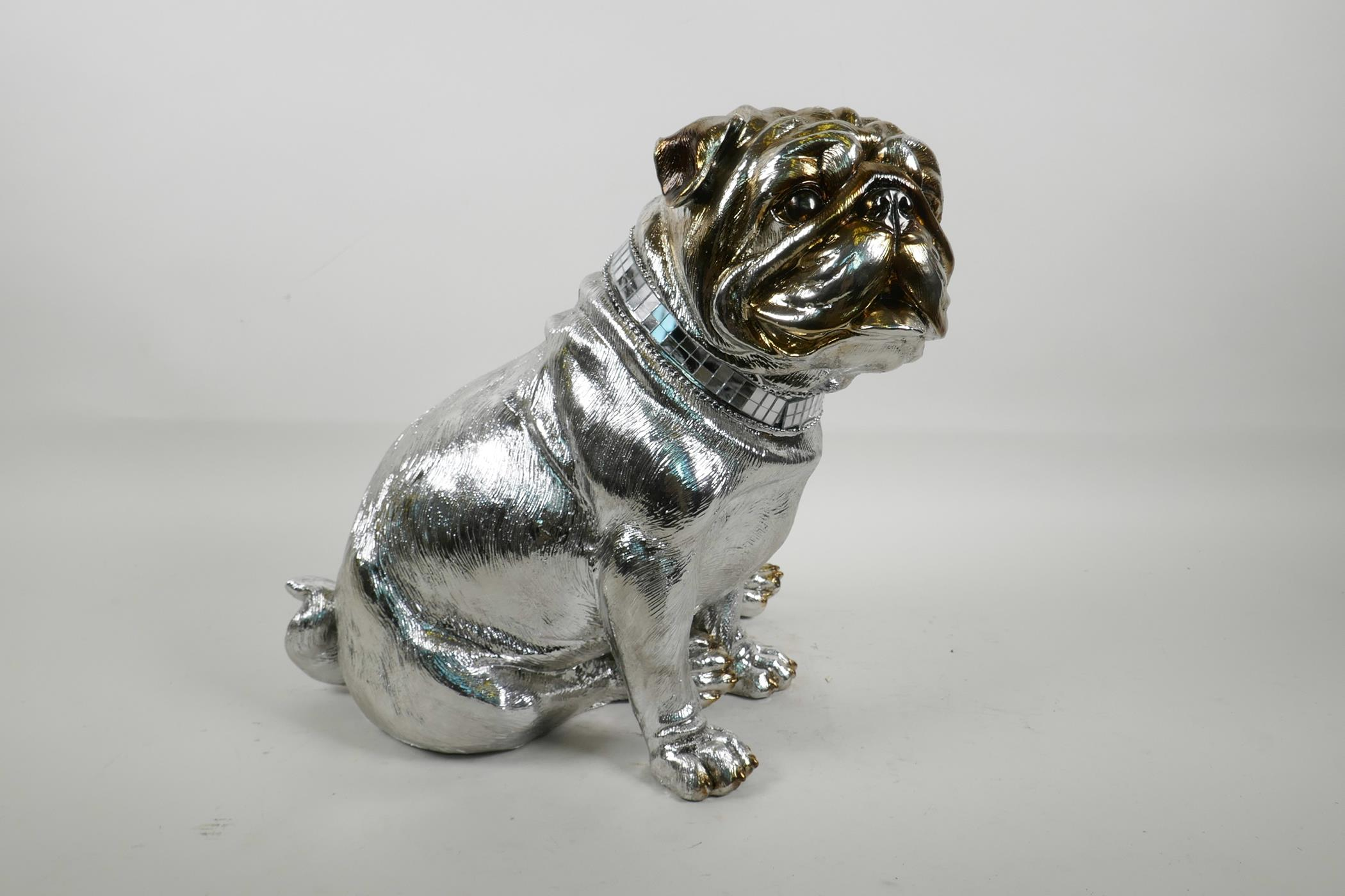 """Lot 28 - A contemporary silvered composition figure of a bulldog, 11½"""" high"""