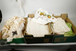 A quantity of lace, linen and embroidery (3 boxes)