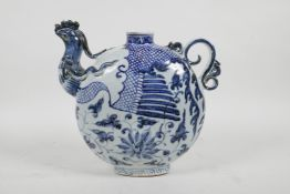 """A Chinese blue and white porcelain phoenix pourer, 8"""" high"""