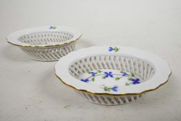 A pair of Herend basket dishes in the cornflower Blue Garland pattern, stamped and impressed to base