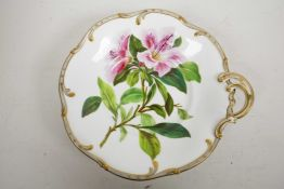 A c.1840 Samuel Alcock pedestal dessert comport, hand painted with oriental lilies and a pale grey