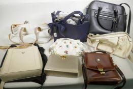 A collection of vintage handbags including David Jones, Tula etc