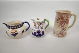 An 1830s Allerton Gaudy Welsh caterpillar handle lustre pitcher, with hand painted flowers and