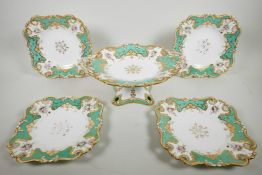 A rare 1840s Ridgway part dessert service with pedestal comport and four matching square dessert