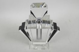 """A large Art Deco style black and clear glass perfume bottle, 9½"""" high"""