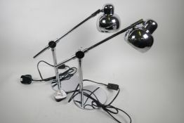 """A pair of chrome plated adjustable desk lamps, 15"""" high"""