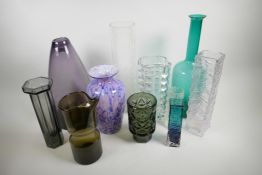 """A collection of 1970s/80s studio glass vases, largest 16"""" high"""