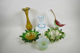 """Two shaped studio glass dishes with green frilled edges fading to vaseline centres, 8½"""" diameter,"""