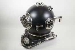 """A replica U.S. Navy diver's helmet with chrome plated fittings, 16"""" high"""