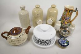 A box of stoneware pottery including Motsware teapot, hot water bottle, cheese dish etc