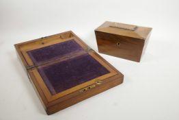 A Regency mahogany sarcophagus tea caddy, together with a Victorian mahogany writing slope,