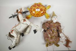"""A retro painted iron Mobo tortoise, 11½"""" long, together with a painted wood Muffin the Mule"""