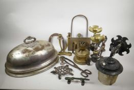 A collection of assorted metal wares including Art Nouveau iron and brass fire dogs, trivets, silver