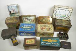 "A large quantity of vintage tins, biscuit, tea, stock etc, largest 9"" x 6½"""
