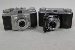 A vintage Voightlander Vito II 35mm camera together with a vintage Agfa 35mm camera