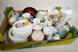 A box of pottery and porcelain etc to include designer coffee pot, dressing table items etc
