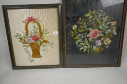 """A C19th woolwork of a spray of wild flowers, 16"""" x 20½"""", together with a woolwork of a woven basket"""