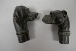"""Two bronze walking stick handles cast as dogs' heads, 3"""" long"""