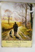 """A replica metal advertising sign for James Purdy & Sons, Gunsmiths, 20"""" x 27½"""""""