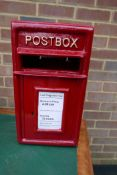 """A cast metal and steel postbox, 17½"""" x 9½"""" x 9½"""""""