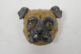 """A cold painted bronze stamp box in the form of a pug's head, 2½"""" x 2½"""""""