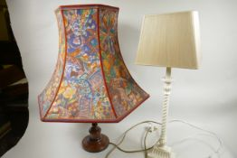 """A turned wood urn shaped table lamp supplied by John Lewis, 20"""" high, with floral shade, together"""