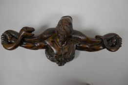 An African hardwood pipe stand carved as a gentleman with large python on his shoulders, stamped