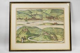A rare antique map with three bird's-eye views by George Braun and Frans Hogenberg, dated c.1610, of