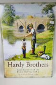 """A replica metal advertising sign for Hardy Bros fishing equipment, 20"""" x 27½"""""""