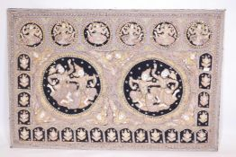 A vintage Eastern stumpwork, embroidered with silver sequins, gilt threads and glass beads,