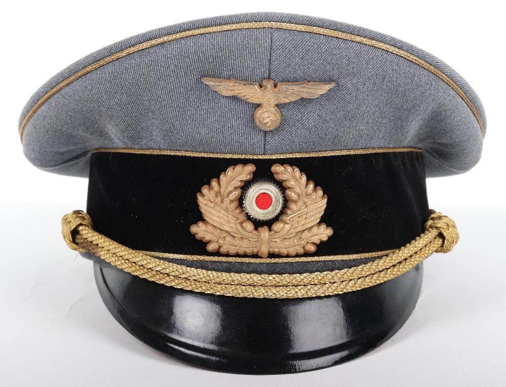 Lot 42 - Third Reich Bahnschutz Leaders Peaked Cap