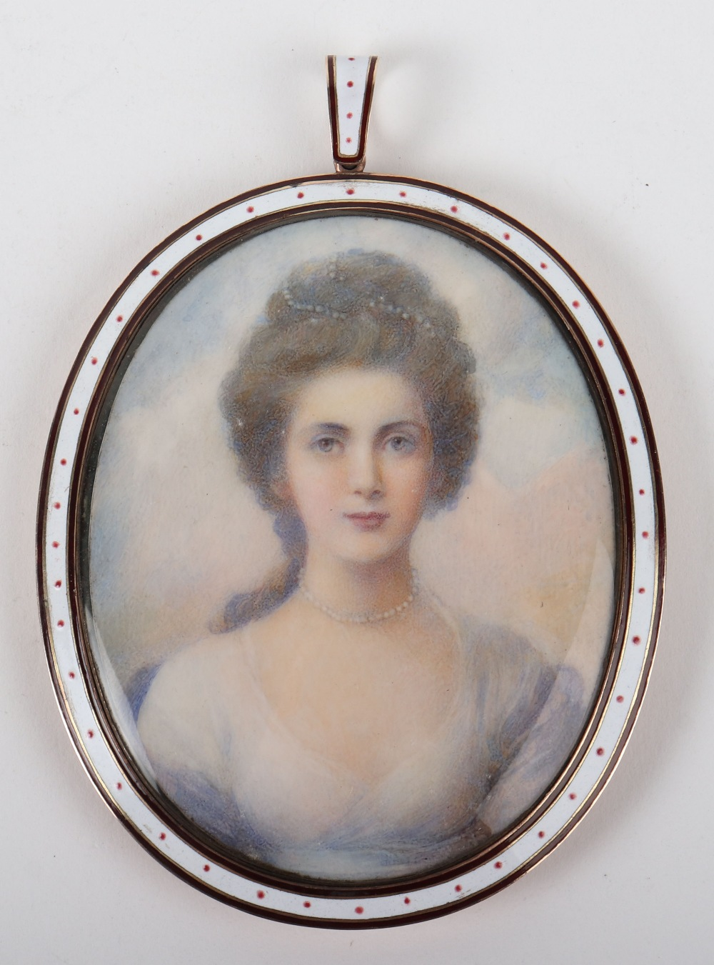 Lot 123 - ^A 19th century miniature bust portrait of a lady, on ivory