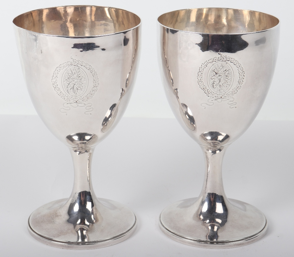 Lot 53 - A pair of George III silver goblets, possibly John Dellmester, London 1835