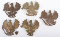 5x WW1 German Prussian Other Ranks Pickelhaube Helmet Plates, all being brass examples in various conditions. (5 items)
