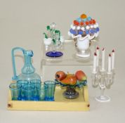 Fine dolls house glass miniatures, circa 1950,
