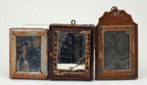Early English 18th century dolls house mirror,
