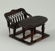 A Rock & Graner tin-plate table and bench set, German 1870s,