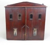 Early wooden cupboard dolls house, English, mid 19th century,