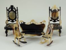 Unusual carved horn dolls house settee and chairs, made in Old Havana, Cuba,