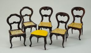 Five Rock & Graner tin-plate balloon-back chairs and stool, German 1870s,