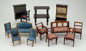 Collection of dolls house furniture, circa 1880,