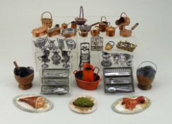 Collection of dolls house accessories for kitchen, circa 1880s,
